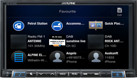 Favourites - Navigation System INE-W720DC